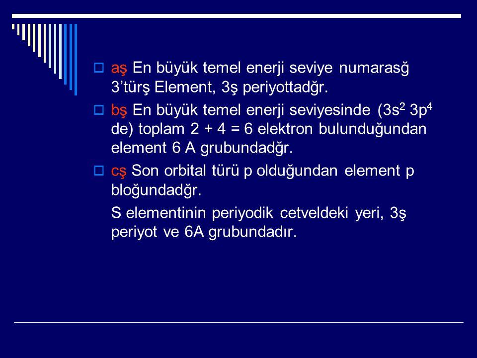 aş En büyük temel enerji seviye numarasğ 3'türş Element, 3ş periyottadğr.