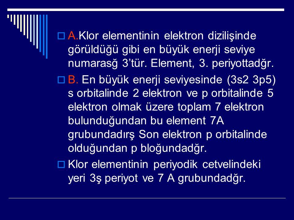 A.Klor elementinin elektron dizilişinde görüldüğü gibi en büyük enerji seviye numarasğ 3'tür. Element, 3. periyottadğr.