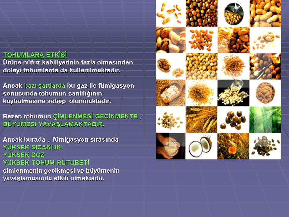 TOHUMLARA ETKİSİ Ürüne nüfuz kabiliyetinin fazla olmasından. dolayı tohumlarda da kullanılmaktadır.