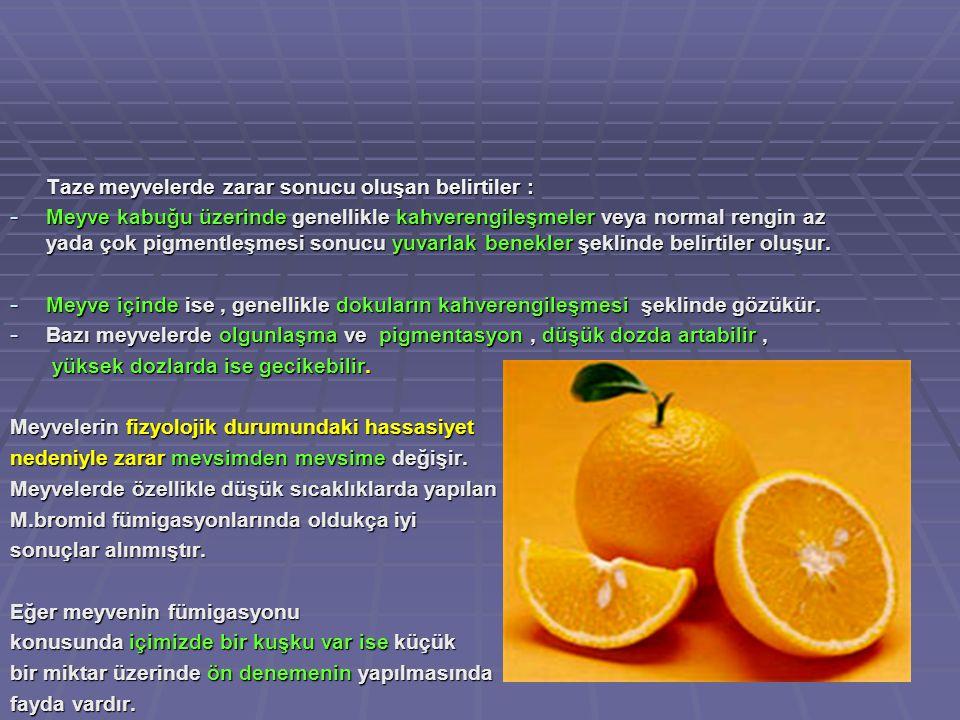 Bazı meyvelerde olgunlaşma ve pigmentasyon , düşük dozda artabilir ,
