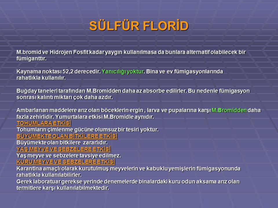 SÜLFÜR FLORİD M.bromid ve Hidrojen Fosfit kadar yaygın kullanılmasa da bunlara alternatif olabilecek bir.