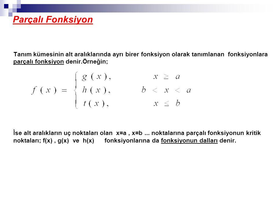 Parçalı Fonksiyon Tanım kümesinin alt aralıklarında ayrı birer fonksiyon olarak tanımlanan fonksiyonlara parçalı fonksiyon denir.Örneğin;