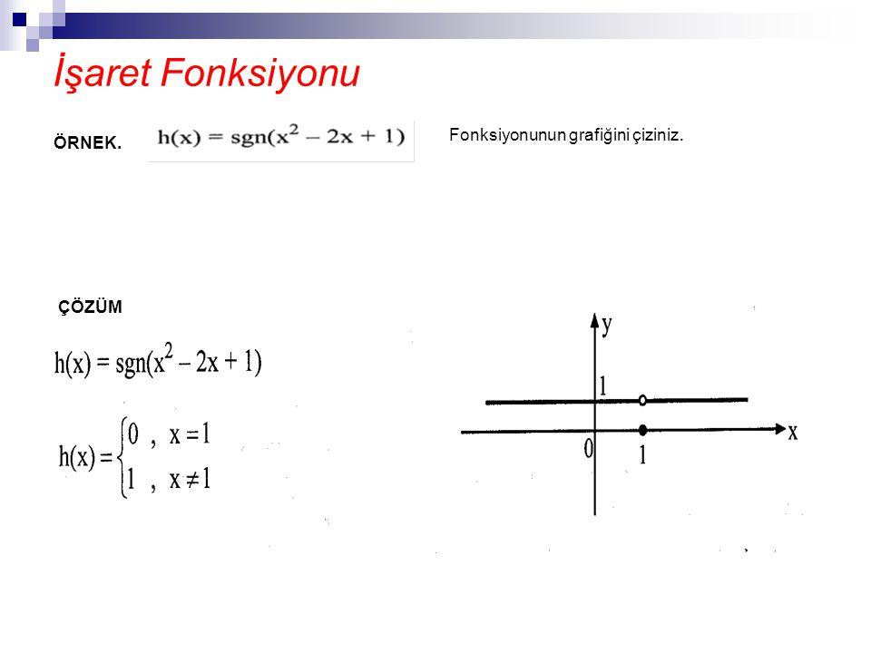 İşaret Fonksiyonu Fonksiyonunun grafiğini çiziniz. ÖRNEK. ÇÖZÜM