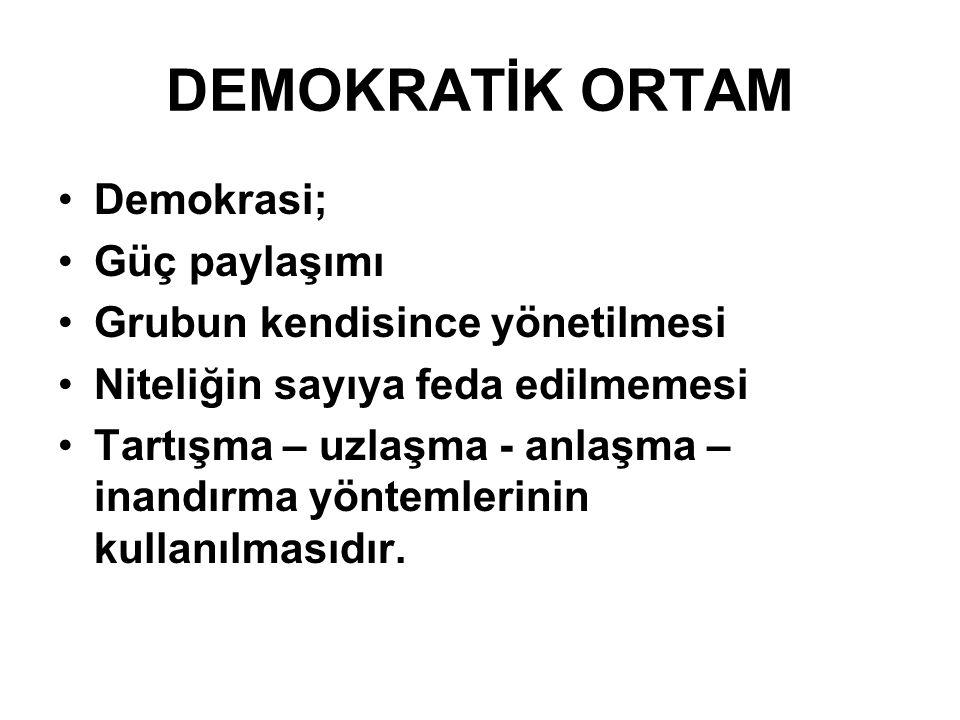 DEMOKRATİK ORTAM Demokrasi; Güç paylaşımı