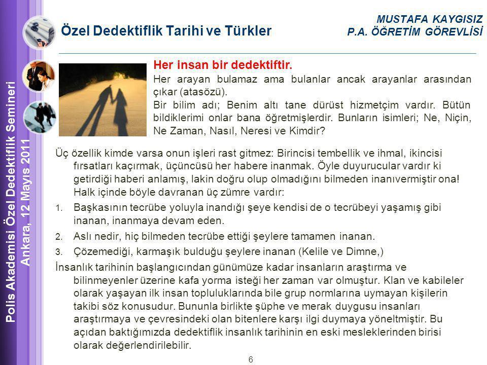Özel Dedektiflik Tarihi ve Türkler