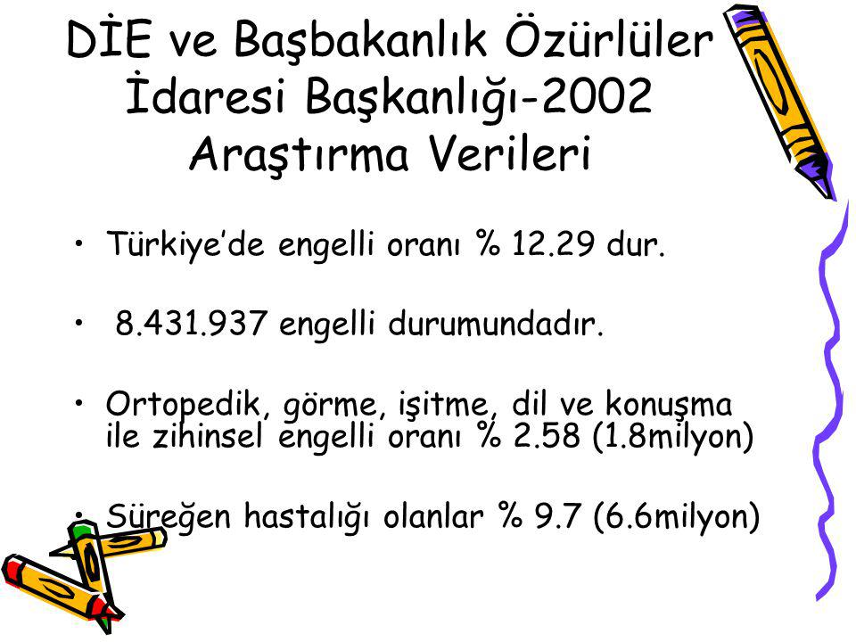 DİE ve Başbakanlık Özürlüler İdaresi Başkanlığı-2002 Araştırma Verileri