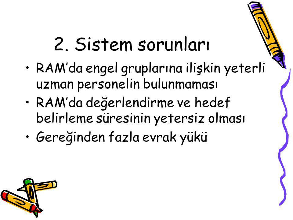 2. Sistem sorunları RAM'da engel gruplarına ilişkin yeterli uzman personelin bulunmaması.