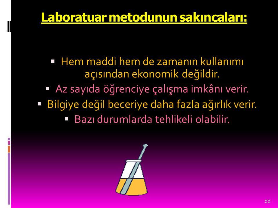 Laboratuar metodunun sakıncaları: