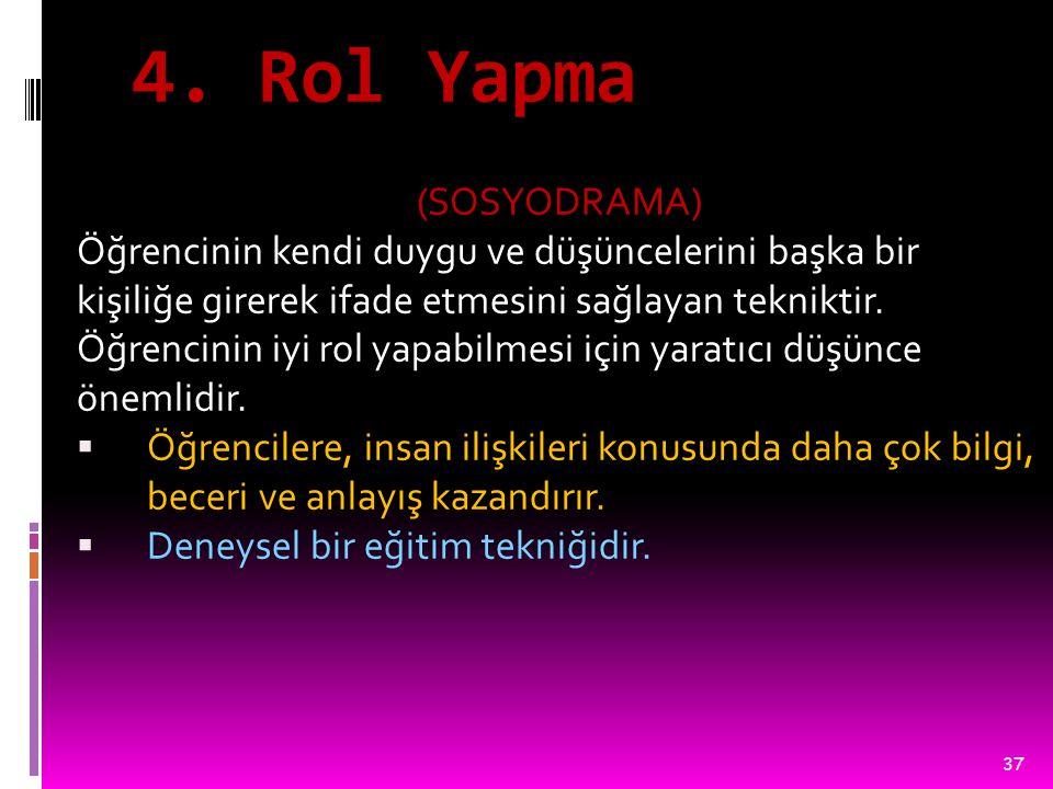 4. Rol Yapma (SOSYODRAMA)