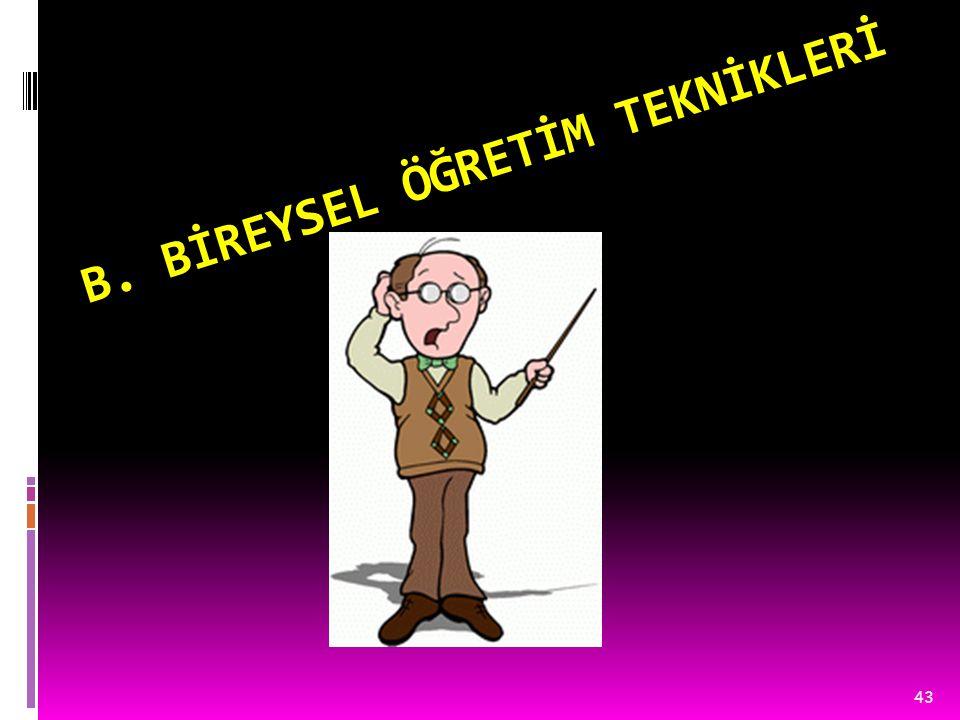 B. BİREYSEL ÖĞRETİM TEKNİKLERİ
