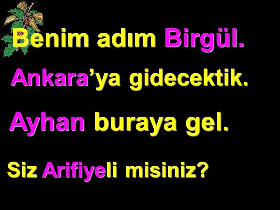 Benim adım Birgül. Ayhan buraya gel. Ankara'ya gidecektik.