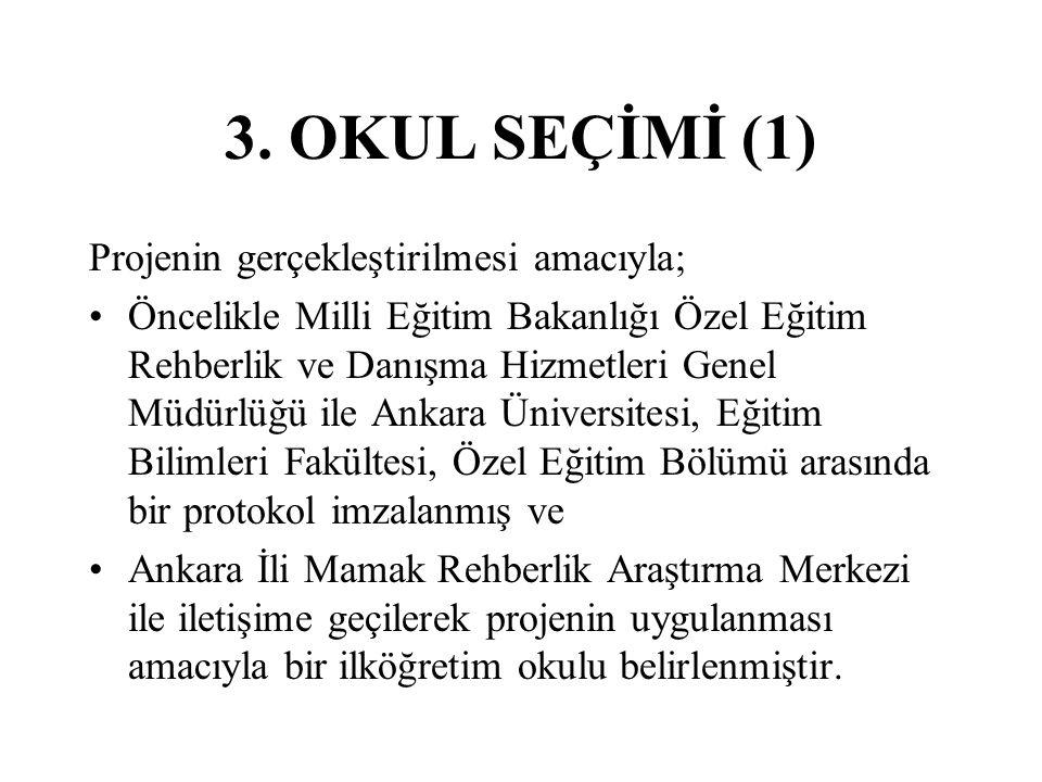 3. OKUL SEÇİMİ (1) Projenin gerçekleştirilmesi amacıyla;