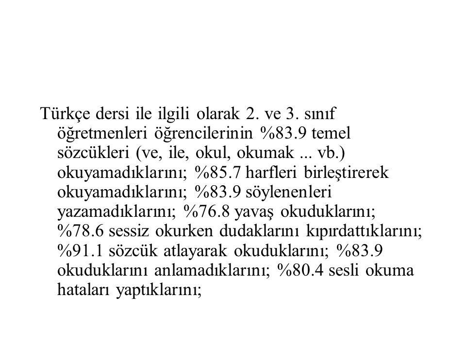 Türkçe dersi ile ilgili olarak 2. ve 3