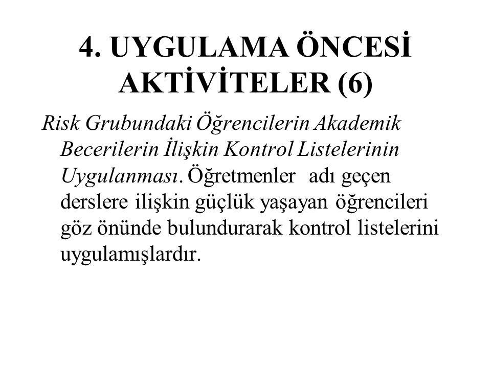 4. UYGULAMA ÖNCESİ AKTİVİTELER (6)