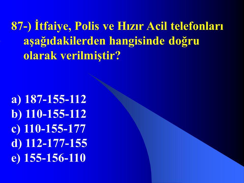 87-) İtfaiye, Polis ve Hızır Acil telefonları aşağıdakilerden hangisinde doğru olarak verilmiştir