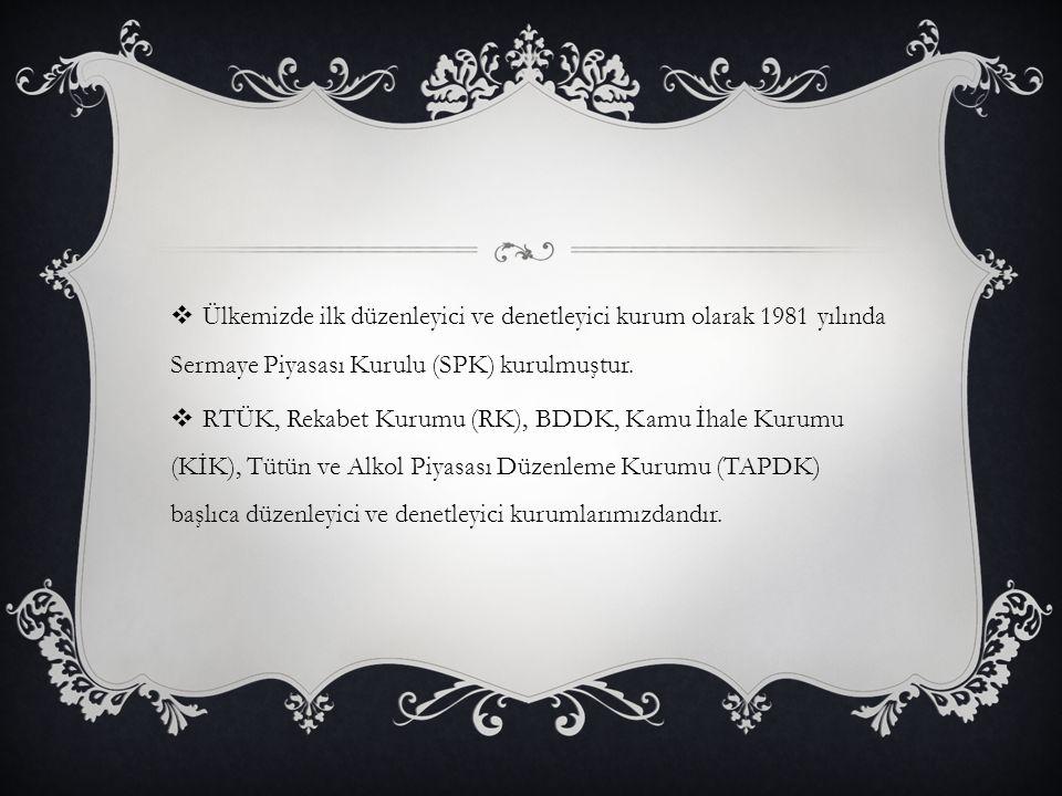 Ülkemizde ilk düzenleyici ve denetleyici kurum olarak 1981 yılında Sermaye Piyasası Kurulu (SPK) kurulmuştur.