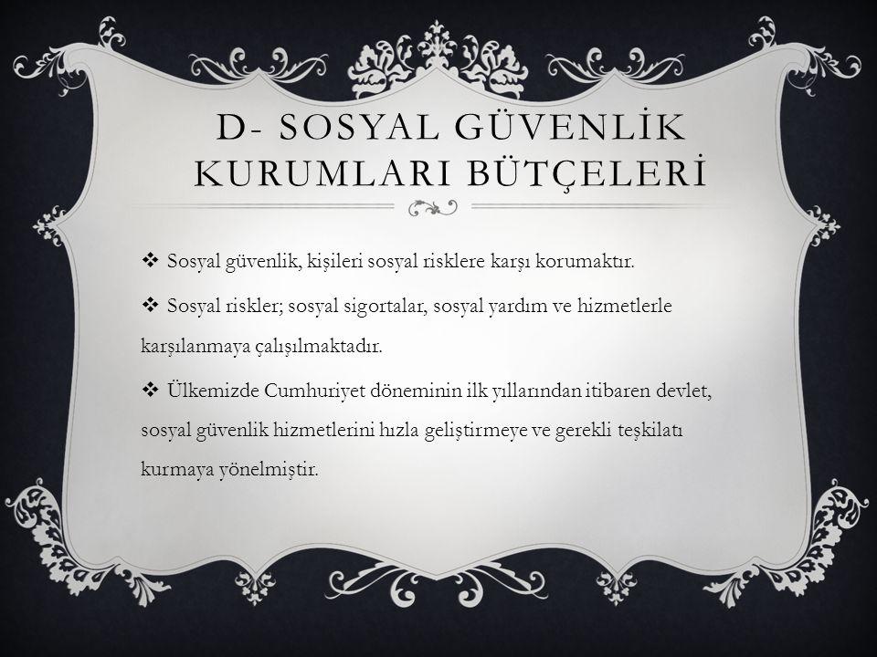 D- SOSYAL GÜVENLİK KURUMLARI BÜTÇELERİ