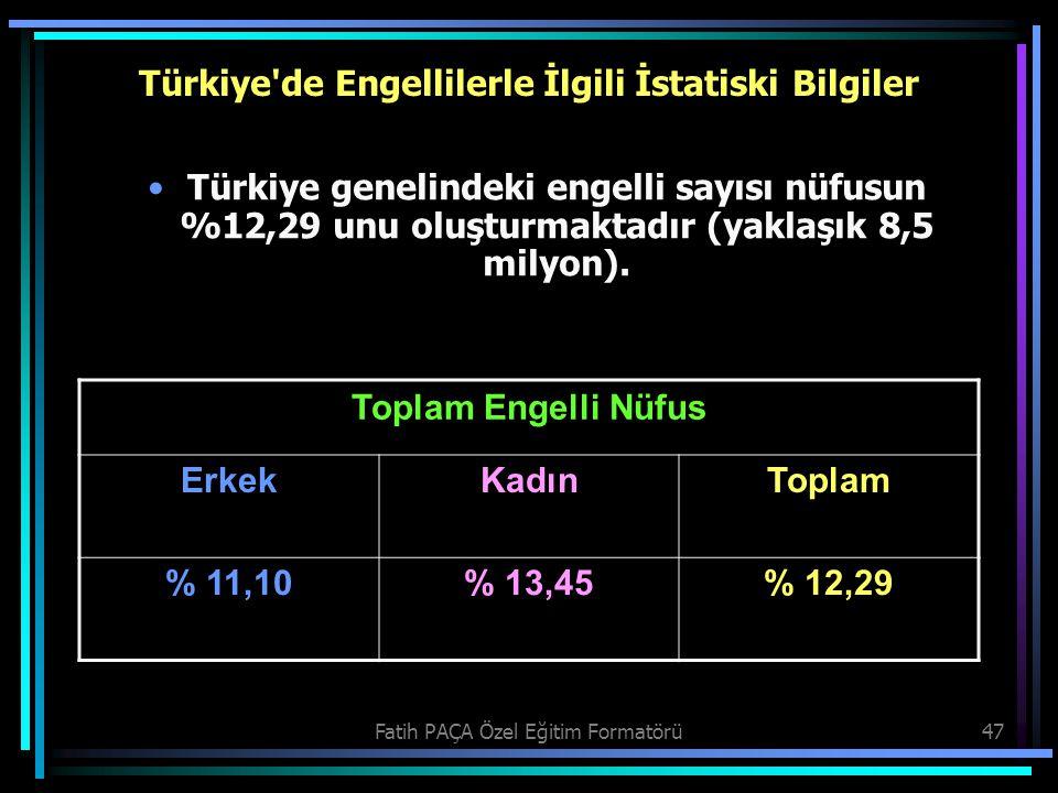 Türkiye de Engellilerle İlgili İstatiski Bilgiler