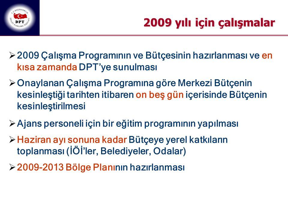2009 yılı için çalışmalar 2009 Çalışma Programının ve Bütçesinin hazırlanması ve en kısa zamanda DPT'ye sunulması.