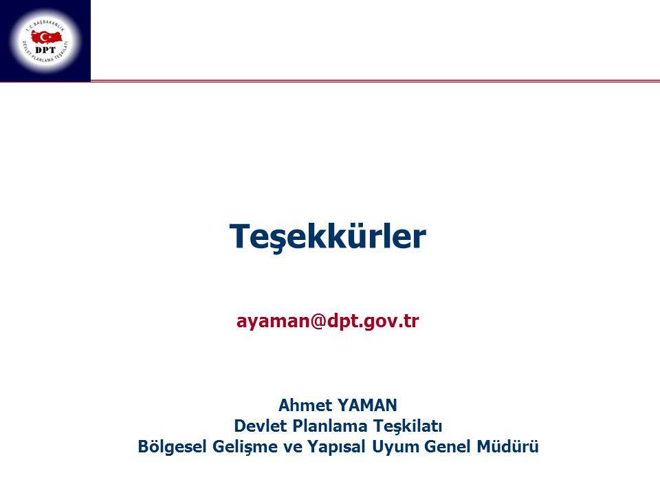 Teşekkürler ayaman@dpt.gov.tr Ahmet YAMAN Devlet Planlama Teşkilatı
