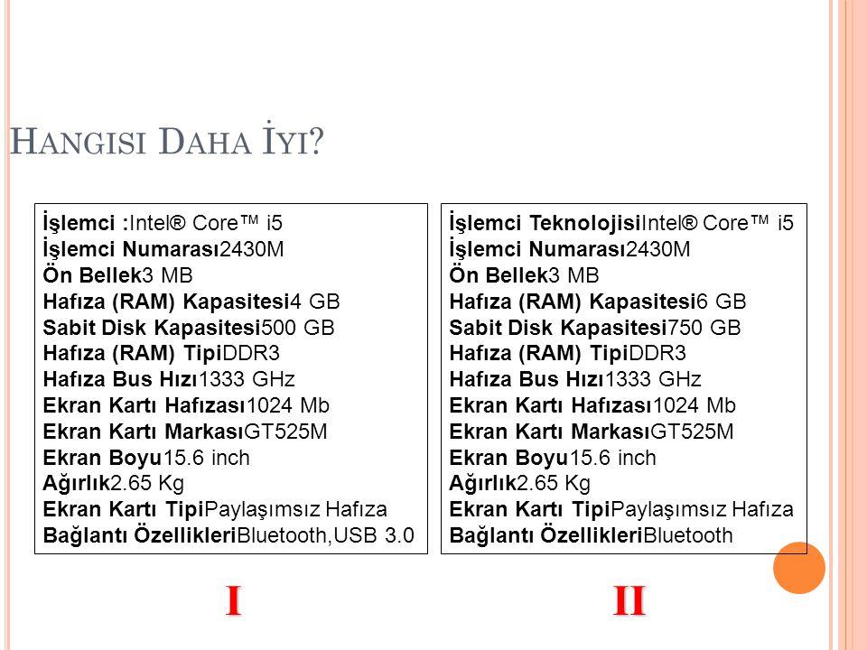 I II Hangisi Daha İyi İşlemci :Intel® Core™ i5 İşlemci Numarası2430M