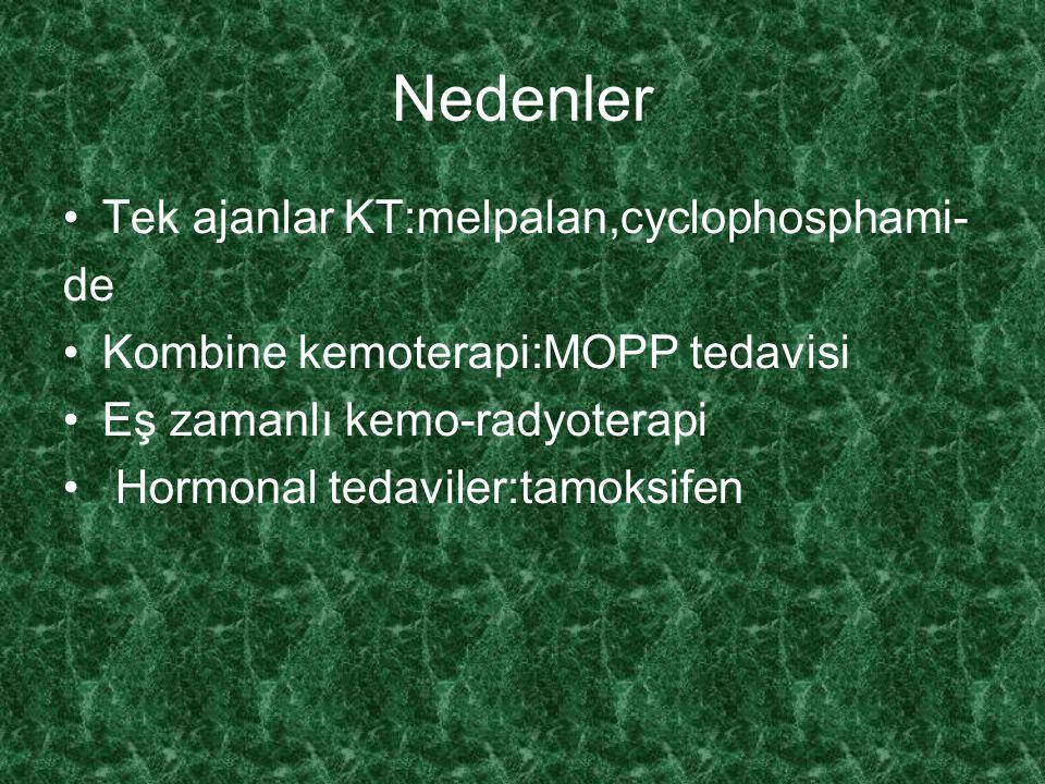 Nedenler Tek ajanlar KT:melpalan,cyclophosphami- de