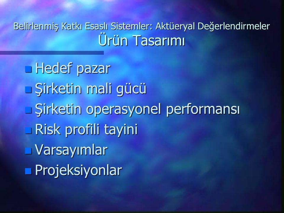 Şirketin operasyonel performansı Risk profili tayini Varsayımlar