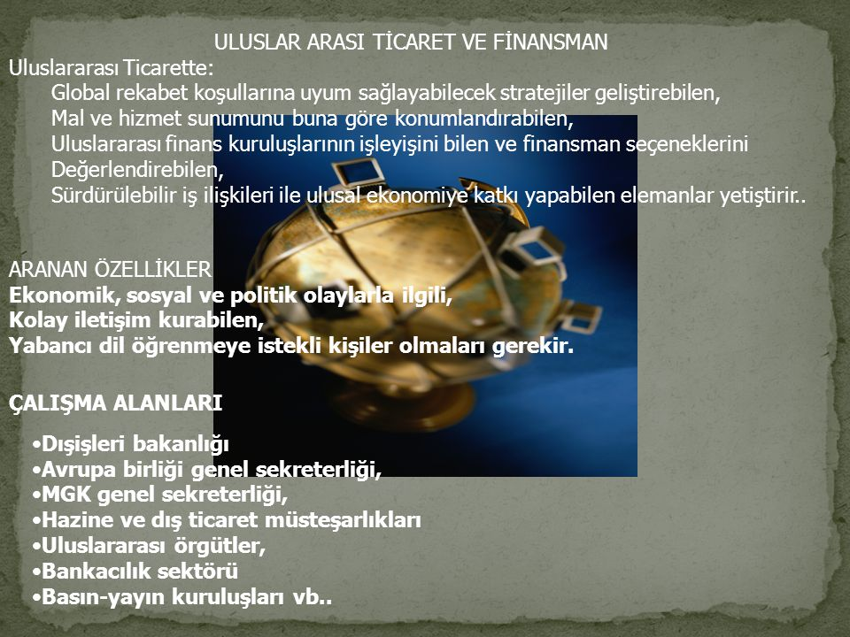 ULUSLAR ARASI TİCARET VE FİNANSMAN