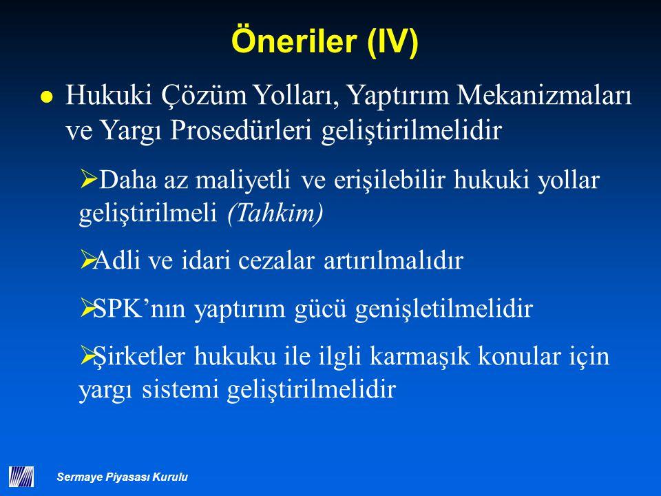 Öneriler (V) SPK'nın operasyonel bağımsızlığı korunmalı, yetkileri ve hesap verme sorumluluğu, şeffaflığı geliştirilmelidir.