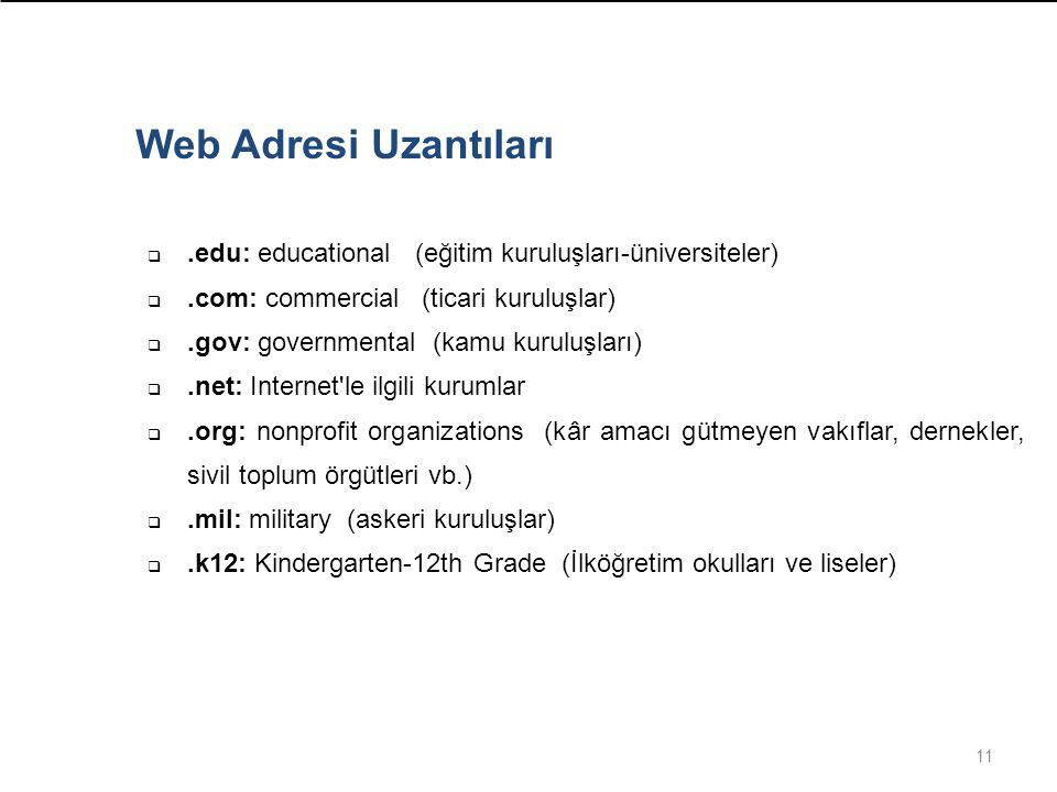 Web Adresi Uzantıları .edu: educational (eğitim kuruluşları-üniversiteler) .com: commercial (ticari kuruluşlar)