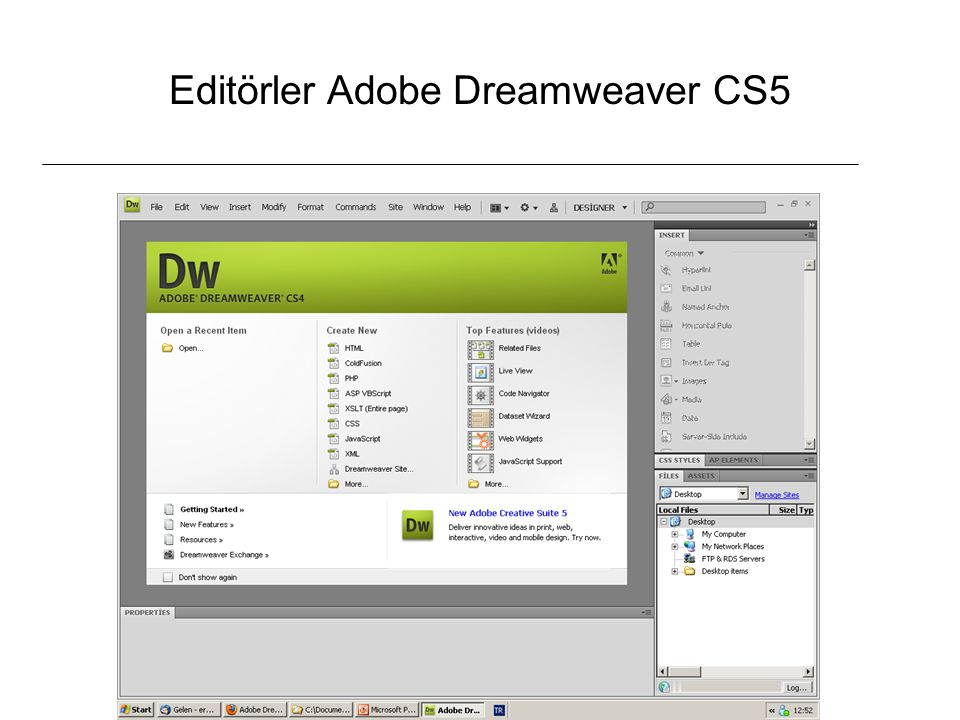 Editörler Adobe Dreamweaver CS5