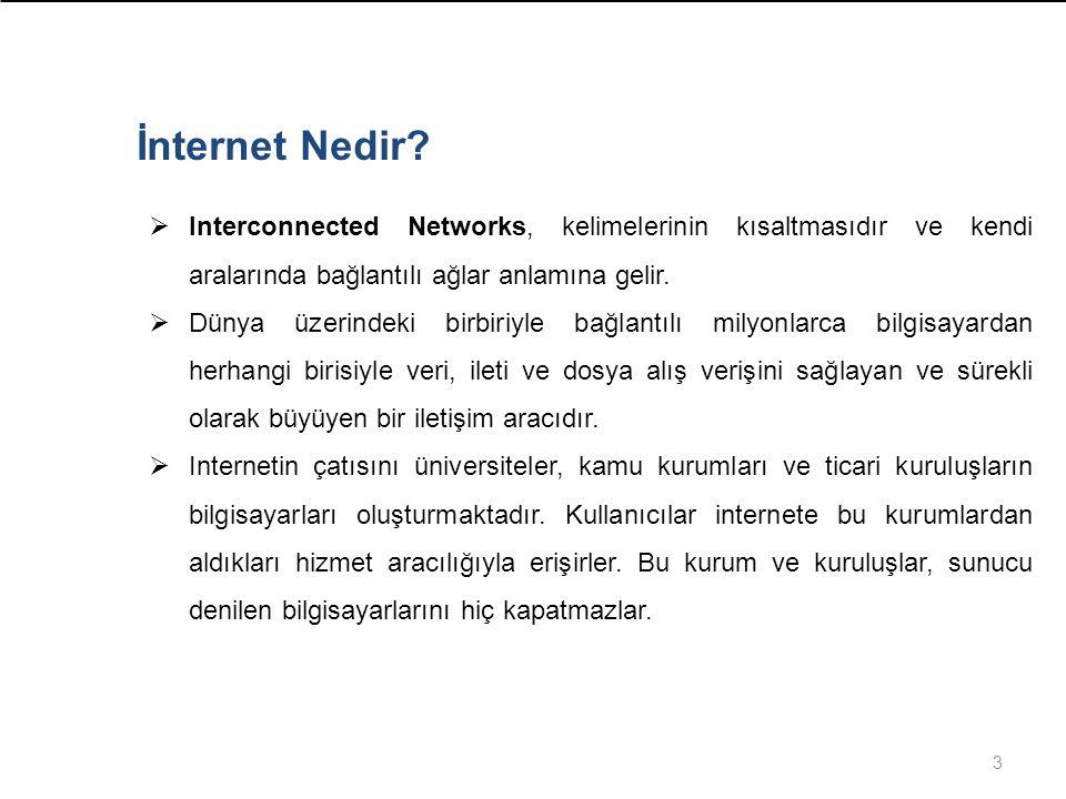 İnternet Nedir Interconnected Networks, kelimelerinin kısaltmasıdır ve kendi aralarında bağlantılı ağlar anlamına gelir.