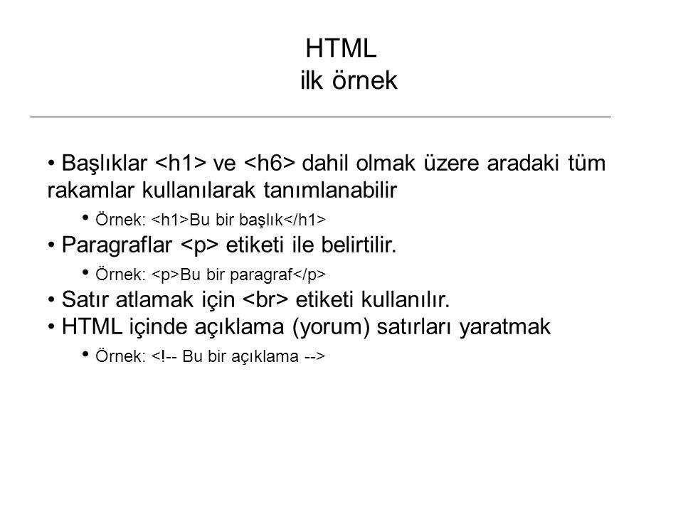 HTML ilk örnek Başlıklar <h1> ve <h6> dahil olmak üzere aradaki tüm rakamlar kullanılarak tanımlanabilir.