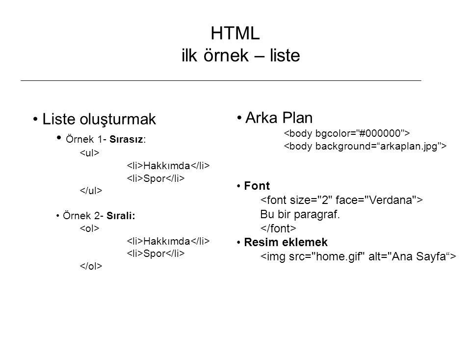 HTML ilk örnek – liste Arka Plan Liste oluşturmak Örnek 1- Sırasız: