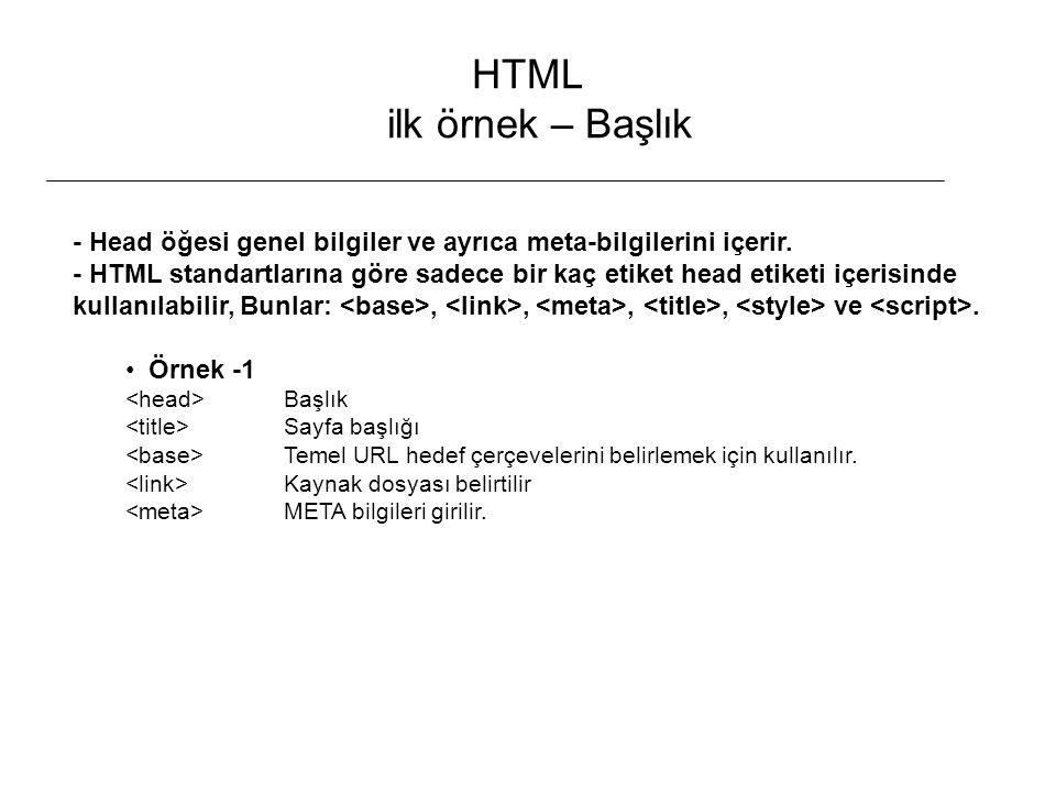 HTML ilk örnek – Başlık - Head öğesi genel bilgiler ve ayrıca meta-bilgilerini içerir.