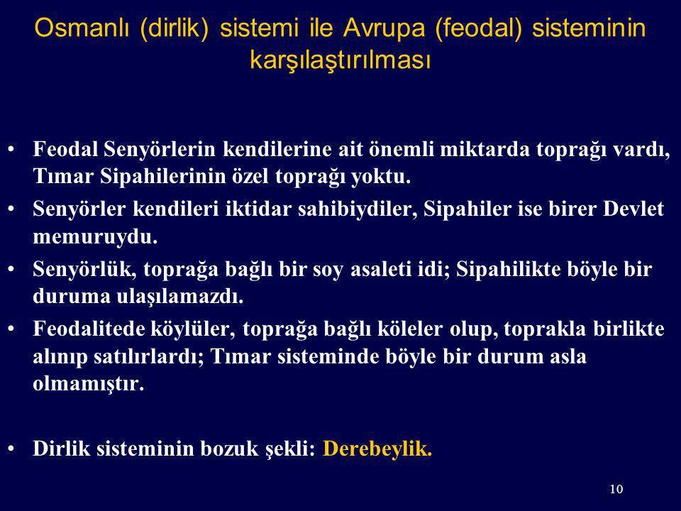 Osmanlı (dirlik) sistemi ile Avrupa (feodal) sisteminin karşılaştırılması