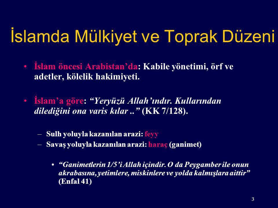 İslamda Mülkiyet ve Toprak Düzeni