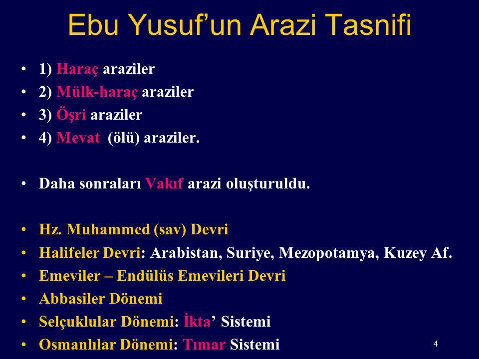 Ebu Yusuf'un Arazi Tasnifi