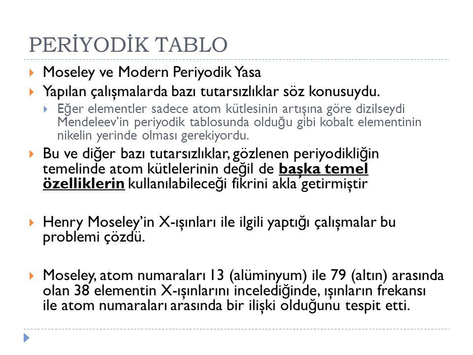 PERİYODİK TABLO Moseley ve Modern Periyodik Yasa