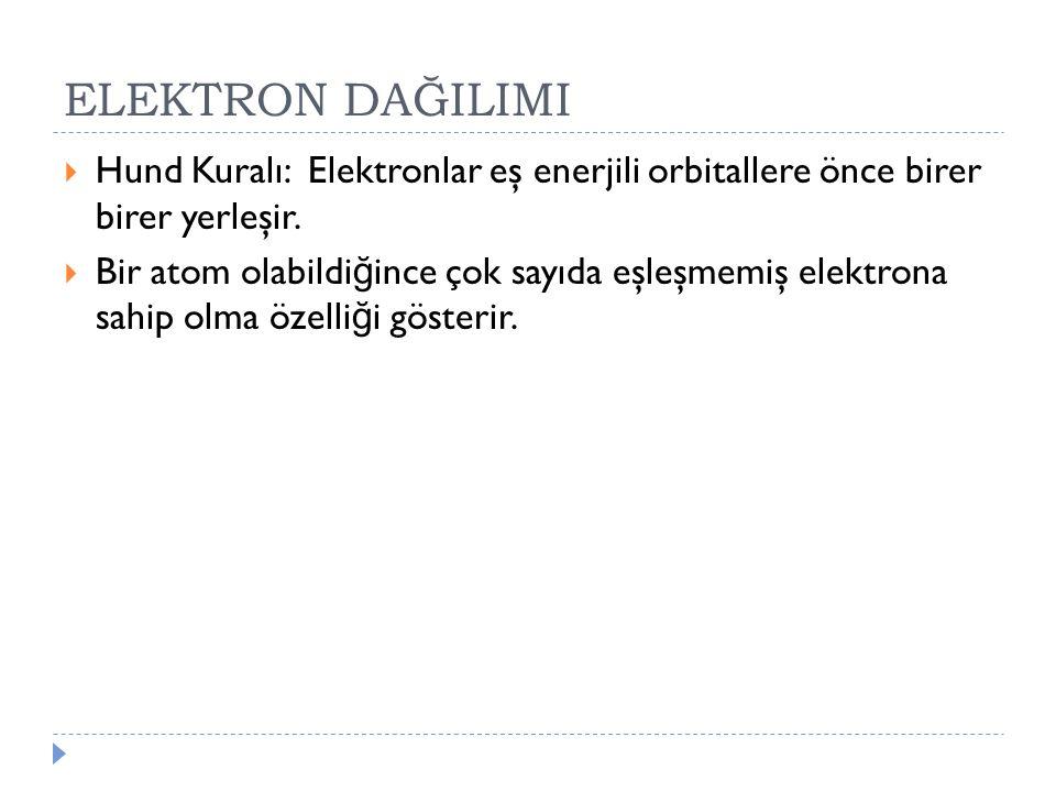 ELEKTRON DAĞILIMI Hund Kuralı: Elektronlar eş enerjili orbitallere önce birer birer yerleşir.