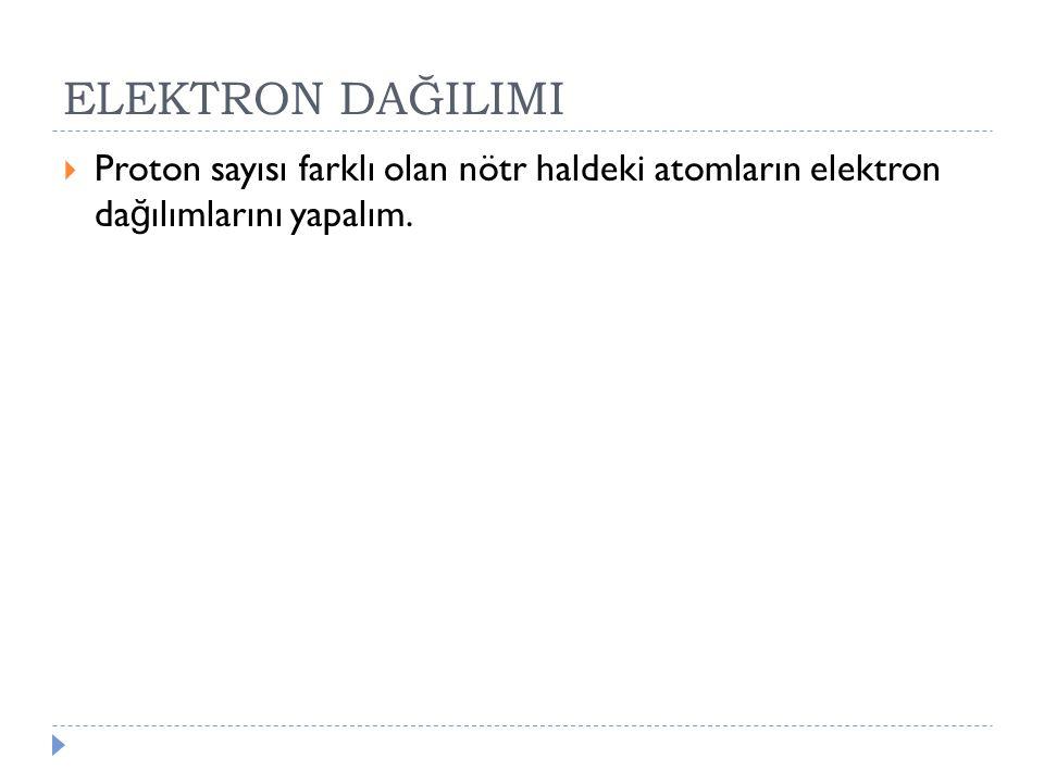 ELEKTRON DAĞILIMI Proton sayısı farklı olan nötr haldeki atomların elektron dağılımlarını yapalım.