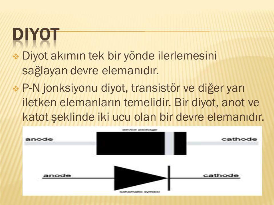 Diyot Diyot akımın tek bir yönde ilerlemesini sağlayan devre elemanıdır.