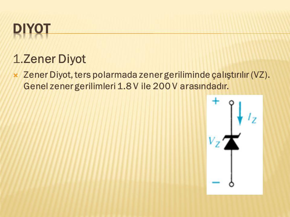 Diyot 1.Zener Diyot. Zener Diyot, ters polarmada zener geriliminde çalıştırılır (VZ).