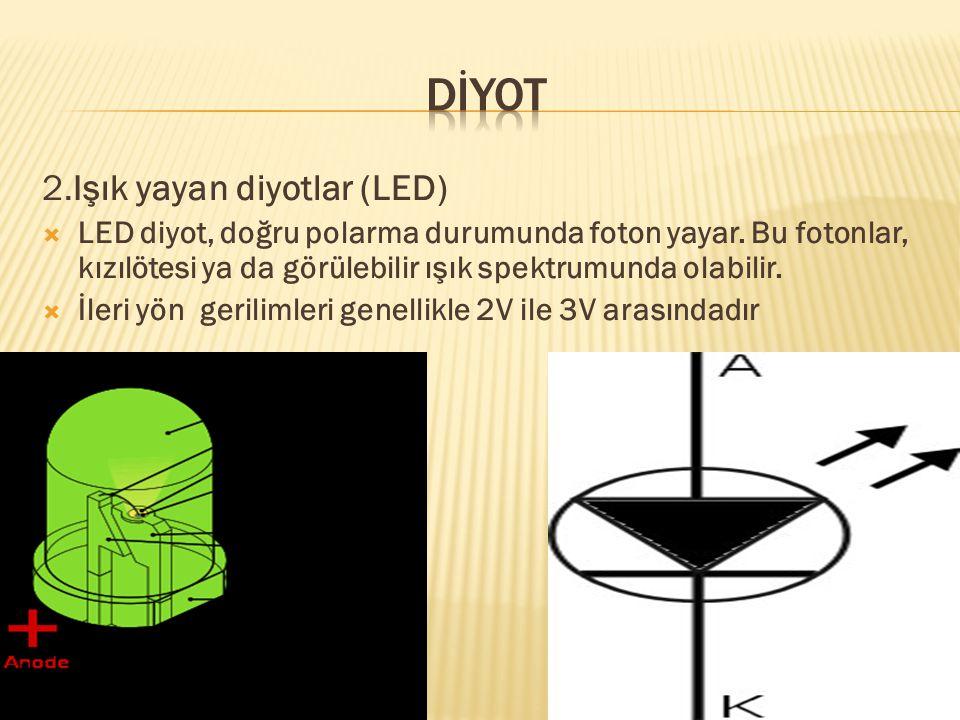 dİYOT 2.Işık yayan diyotlar (LED)