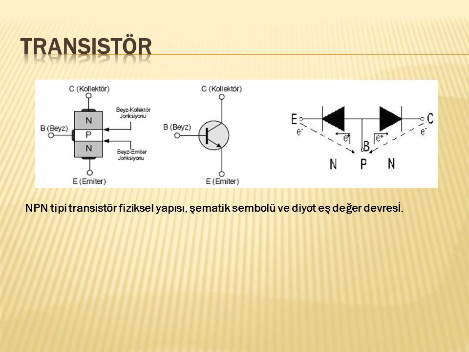 Transistör NPN tipi transistör fiziksel yapısı, şematik sembolü ve diyot eş değer devresİ.