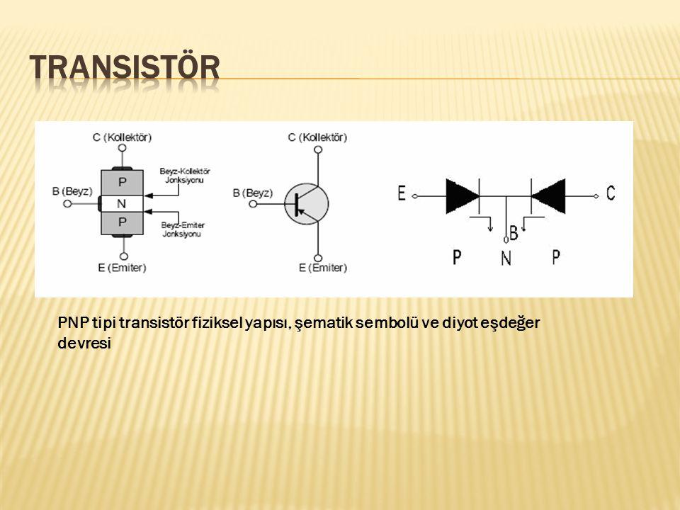 Transistör PNP tipi transistör fiziksel yapısı, şematik sembolü ve diyot eşdeğer devresi
