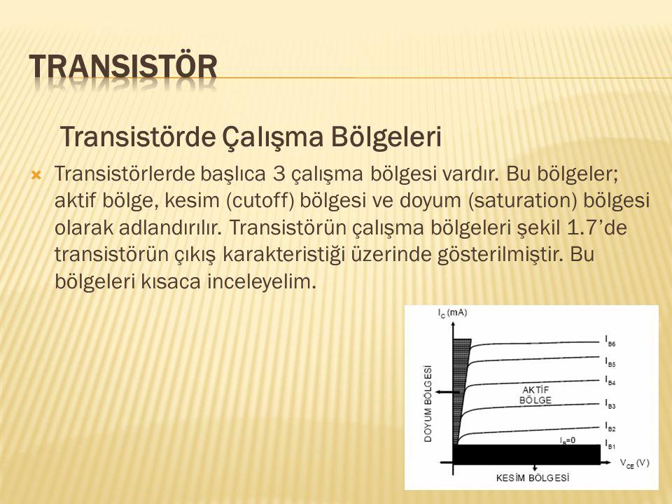 Transistör Transistörde Çalışma Bölgeleri