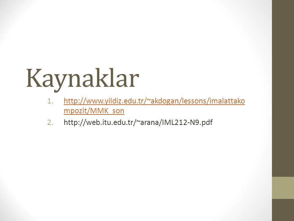 Kaynaklar http://www.yildiz.edu.tr/~akdogan/lessons/imalattakompozit/MMK_son.