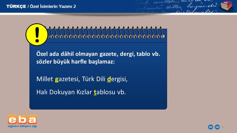 Millet gazetesi, Türk Dili dergisi, Halı Dokuyan Kızlar tablosu vb.
