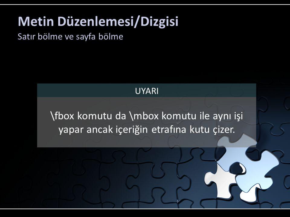 Metin Düzenlemesi/Dizgisi